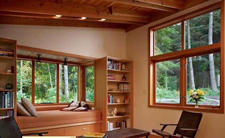中式风格书房木包铝推拉窗