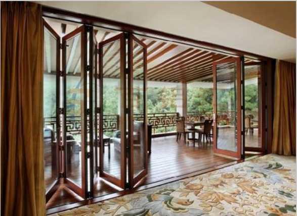 会所木包铝折叠门窗